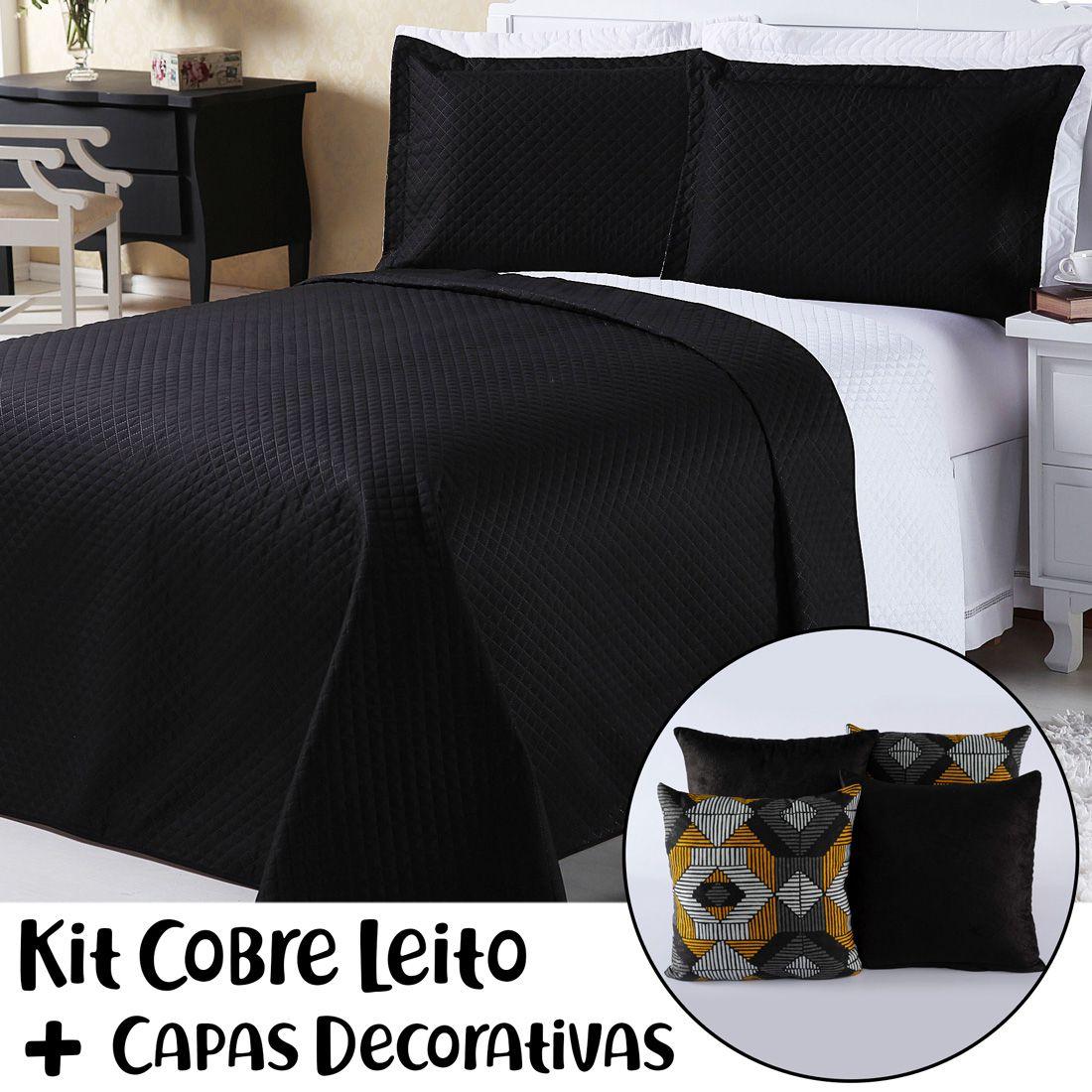 Kit Cobre Leito c/ Capas de Almofadas Dual Color Preto/Branco Queen 07 Peças