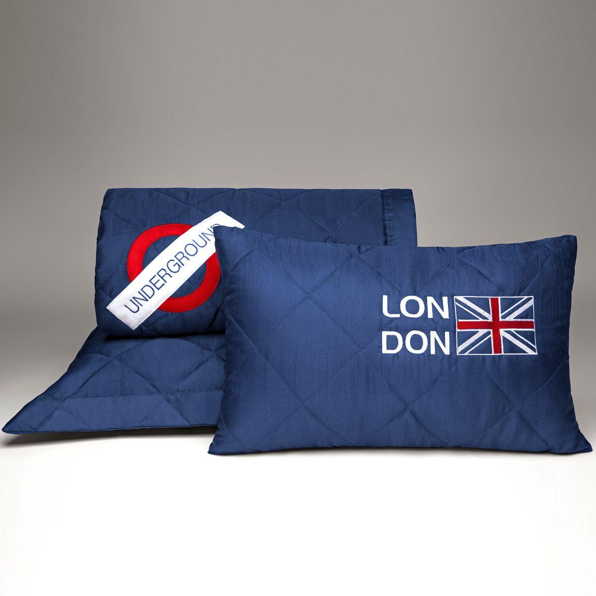 Kit Cobre Leito c/ Lençol e Almofada London Azul Marinho/Branco Solteiro 07 Peças