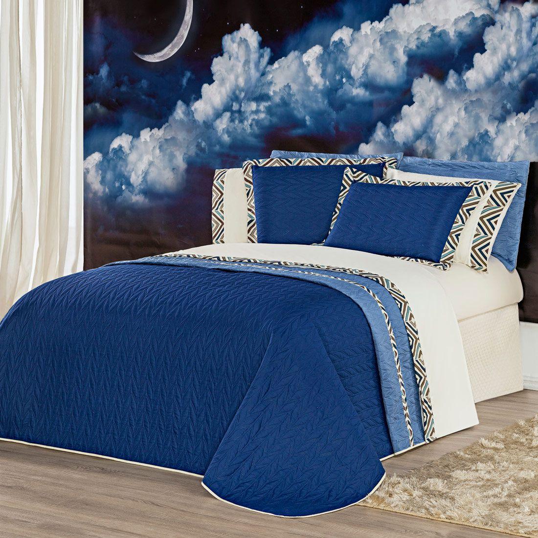 Kit Cobre Leito c/ Travesseiros Monte Carlo Azul King 07 Peças - Dupla Face