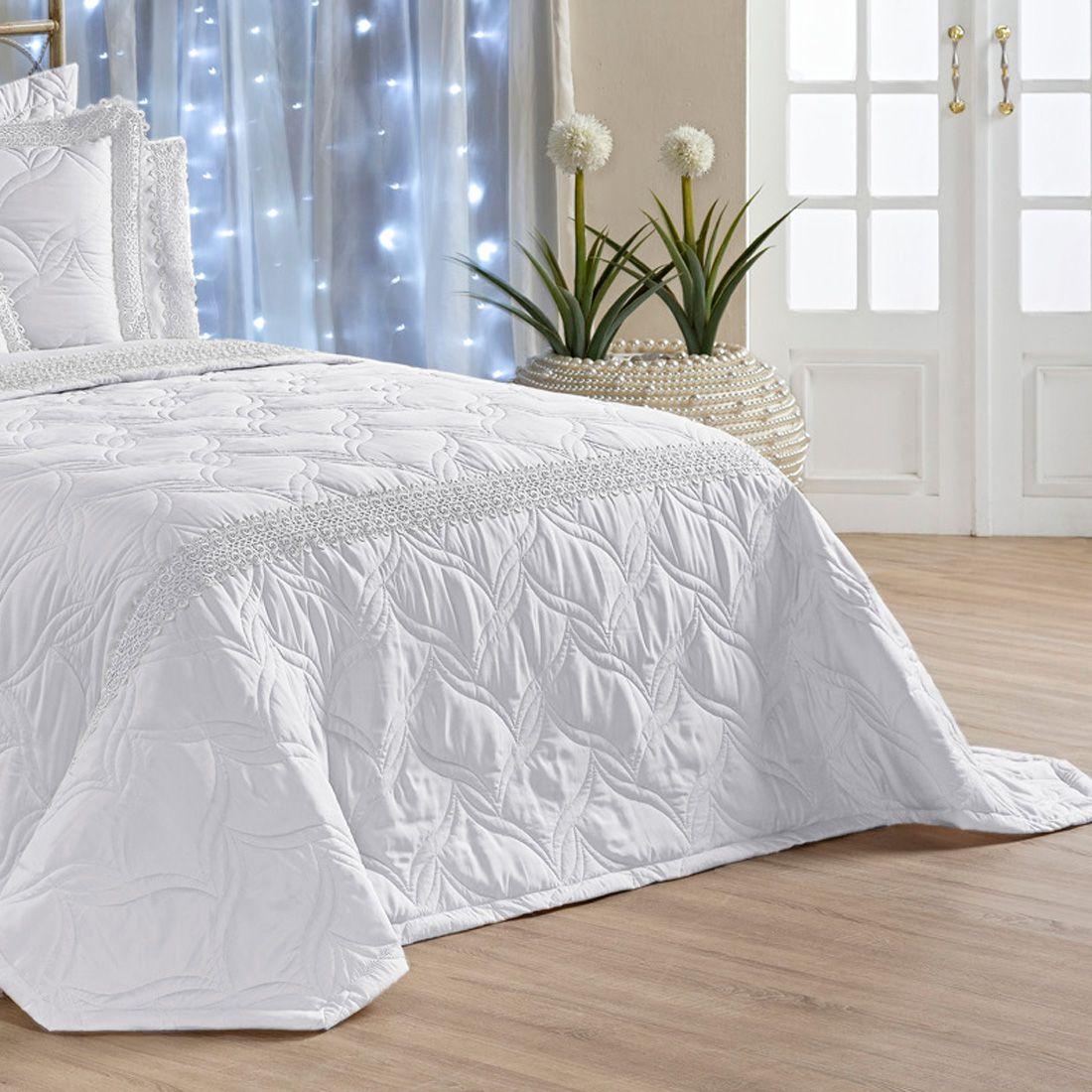 Kit Cobre Leito c/ Travesseiros Royalle Branco Queen 07 Peças - Percal Microfibra