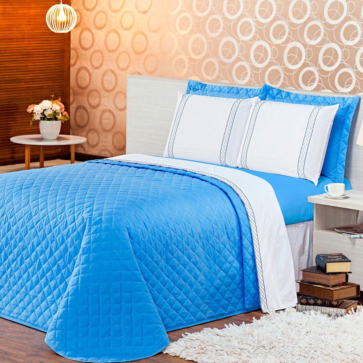 Kit Cobre Leito Casualle Azul Queen 03 Peças - Tecido Percal 180 Fios