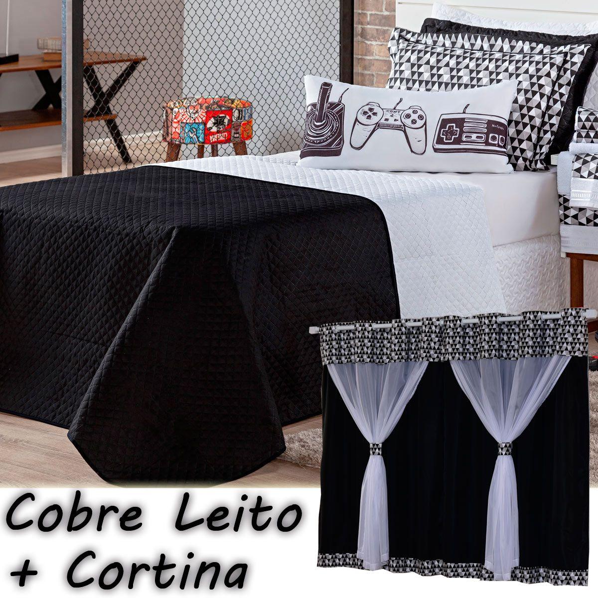 Kit Cobre Leito com Cortina Game Retrô Preto/Branco Dupla Face Solteiro 05 Peças