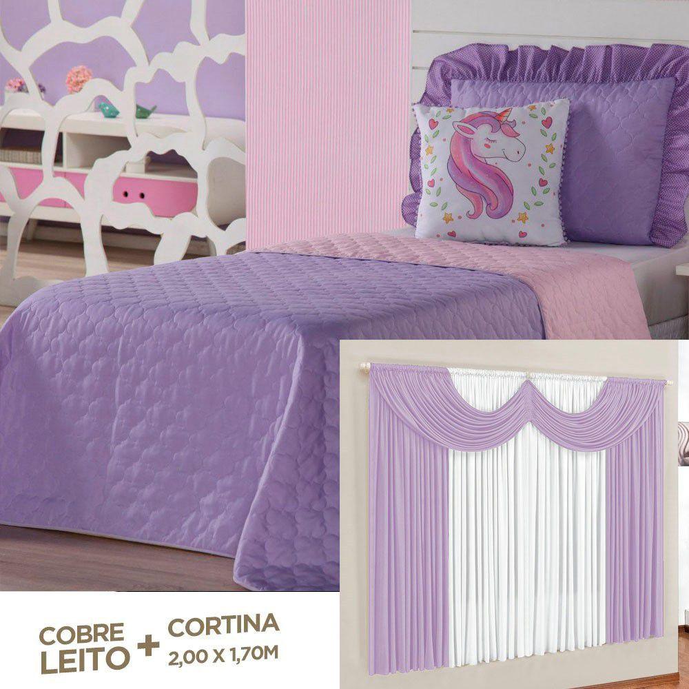 Kit Cobre Leito + Cortina Unicórnio Lilás Dupla Face Solteiro 04 Peças