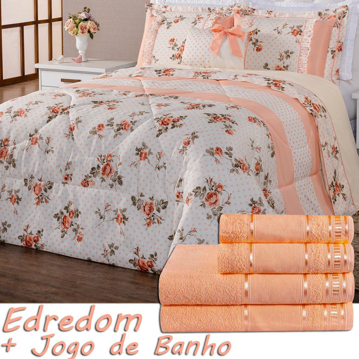 Kit Combo Alice Edredom e Jogo de Banho Floral Salmão Queen 11 Pecas
