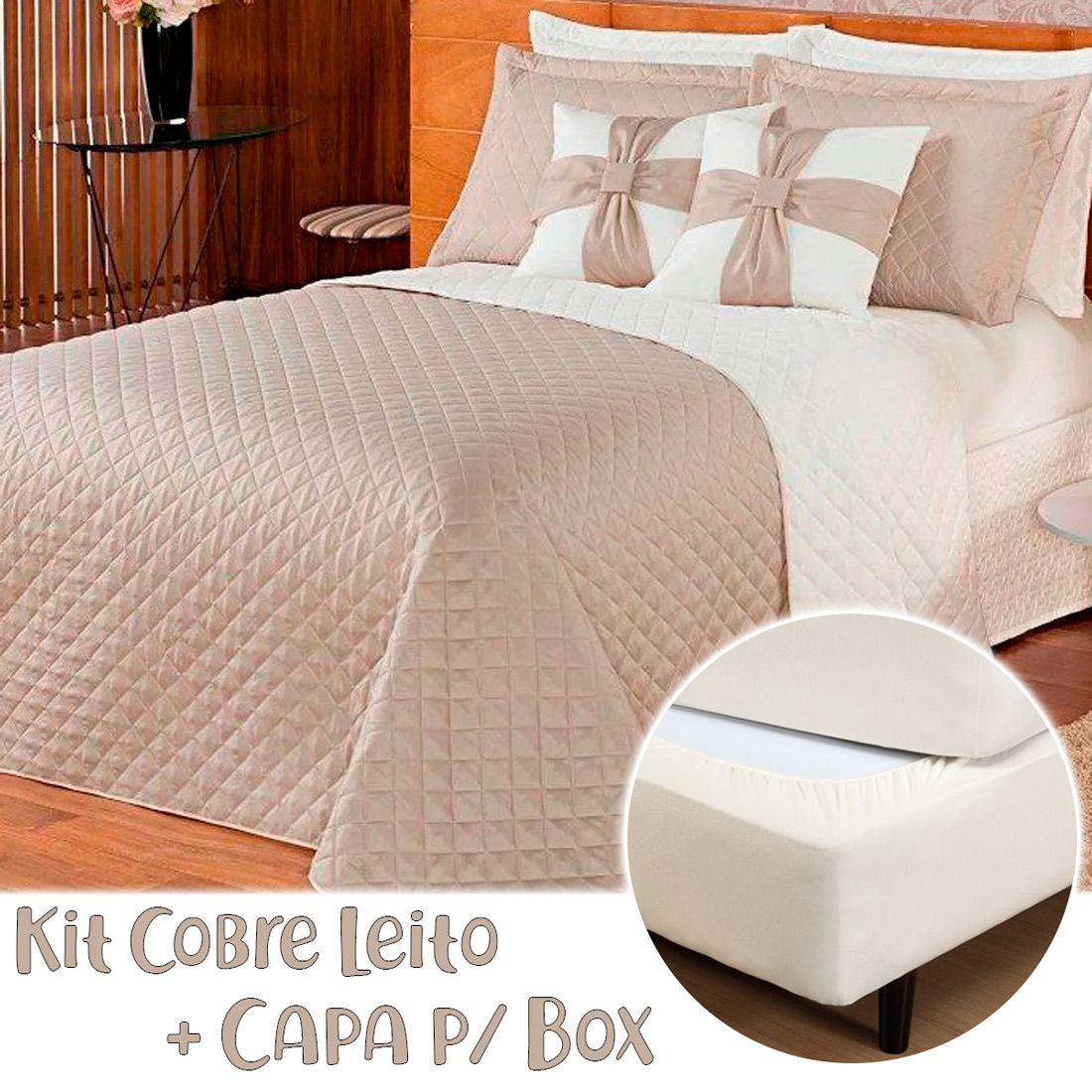 Kit Combo Cobre Leito + Capa p/ Box Ruth Caqui/Palha Casal 08 Peças