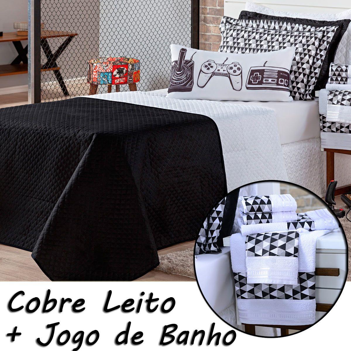 Kit Combo Cobre Leito + Jogo de Banho Game Retrô Dupla Face c/ Almofada Solteiro 09 Peças