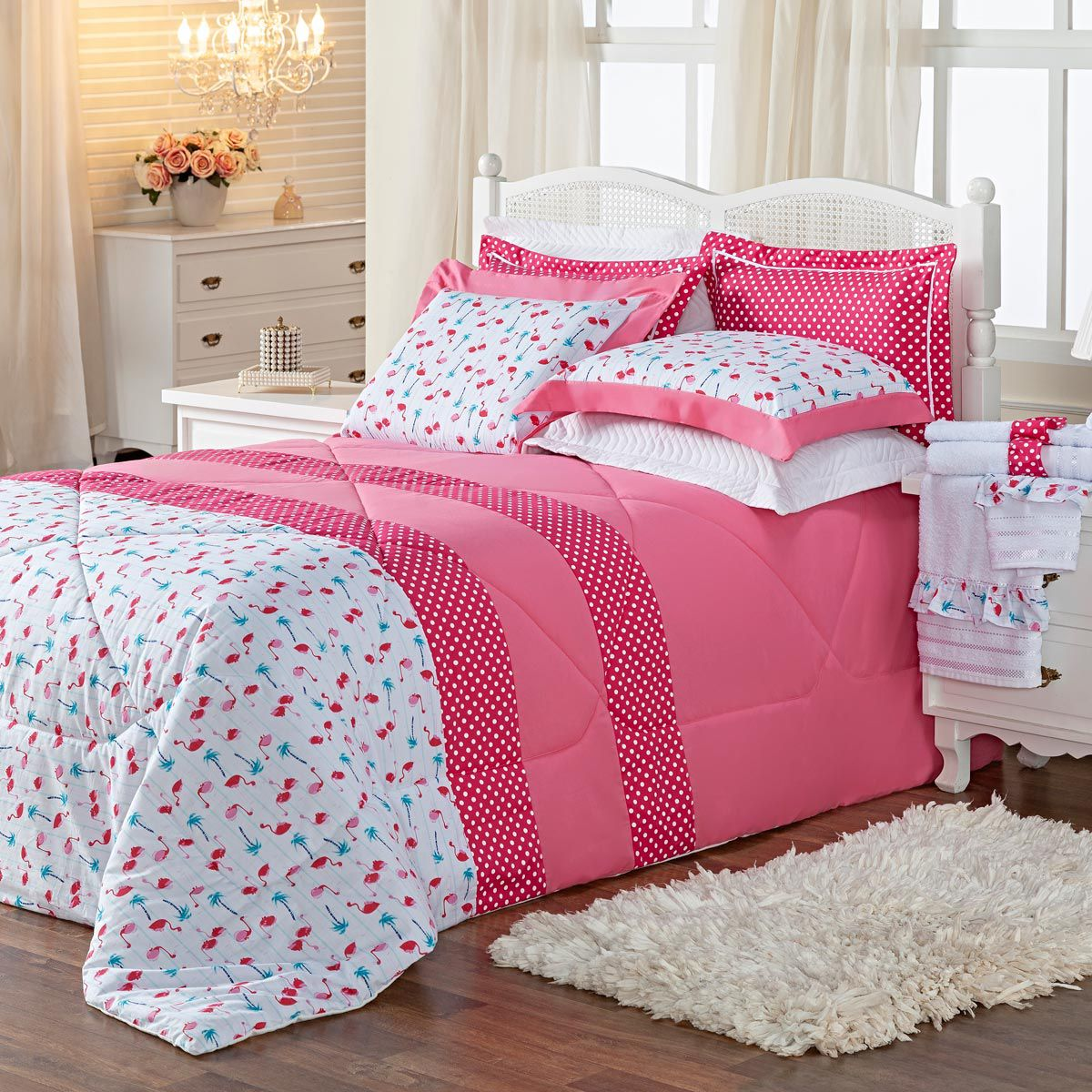 f2fff82cf5 Kit Combo Edredom + Jogo de Banho Flamingo Pink Queen 10 Peças ...
