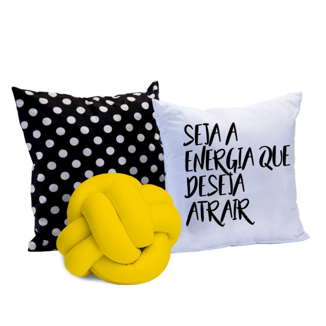 Kit de Almofadas Cheias c/ Nó Amarelo 03 Peças - Energia