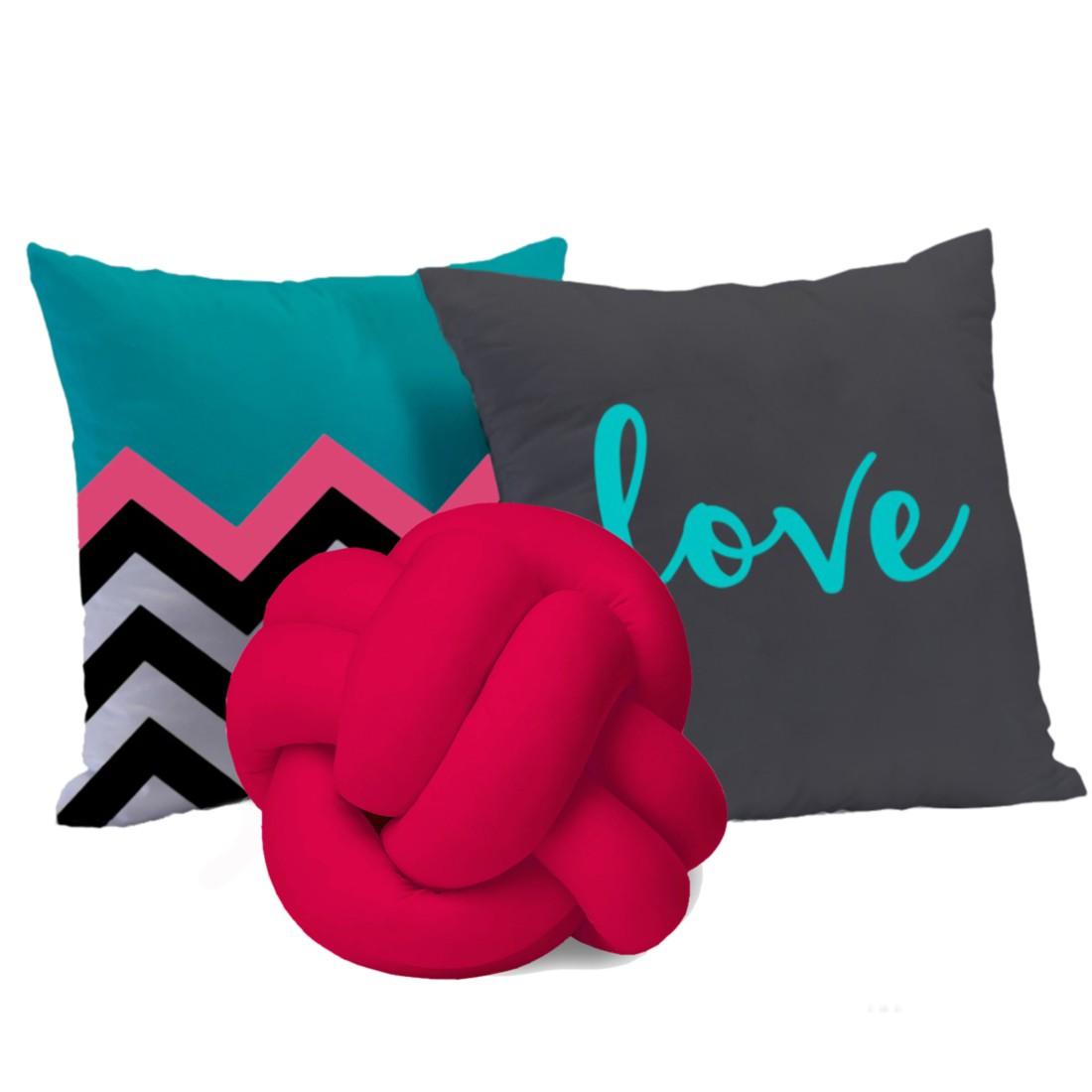 Kit de Almofadas Cheias c/ Nó Pink 03 Peças - Love