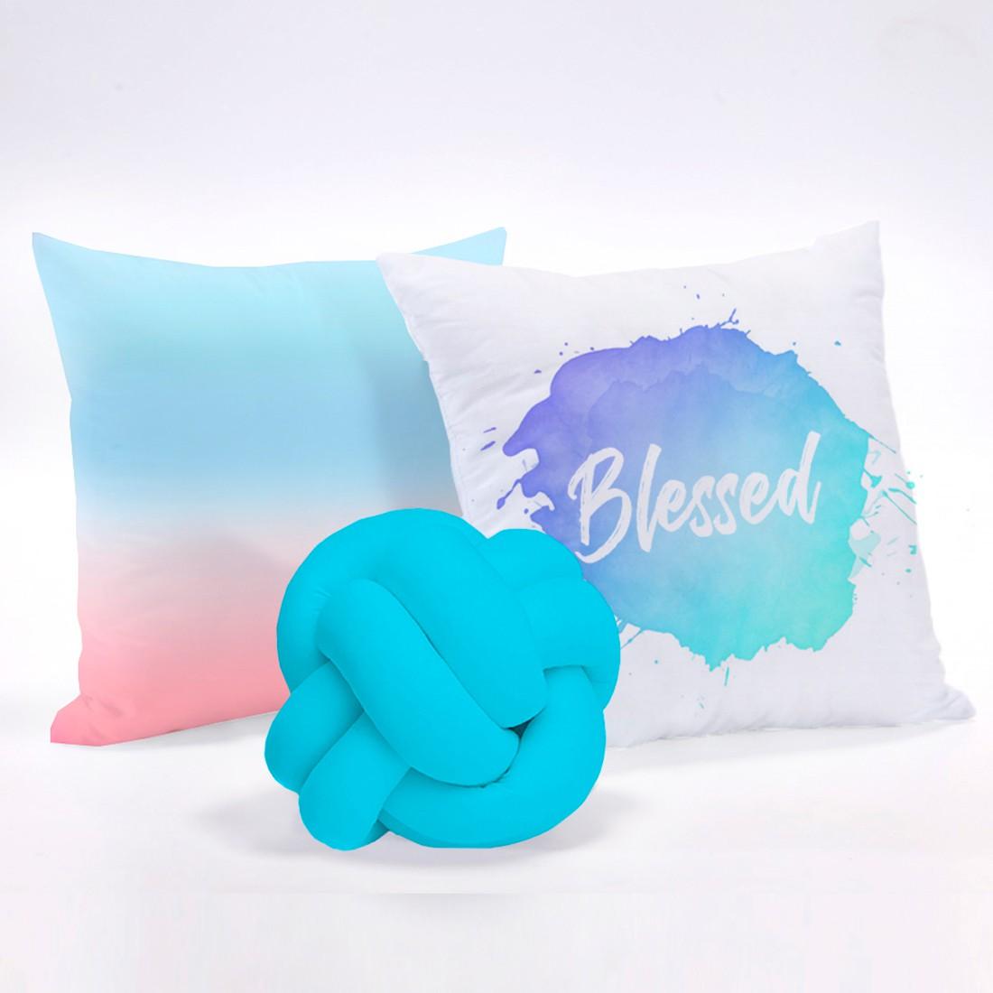 Kit de Almofadas Cheias c/ Nó Tie Dye Azul 03 Peças