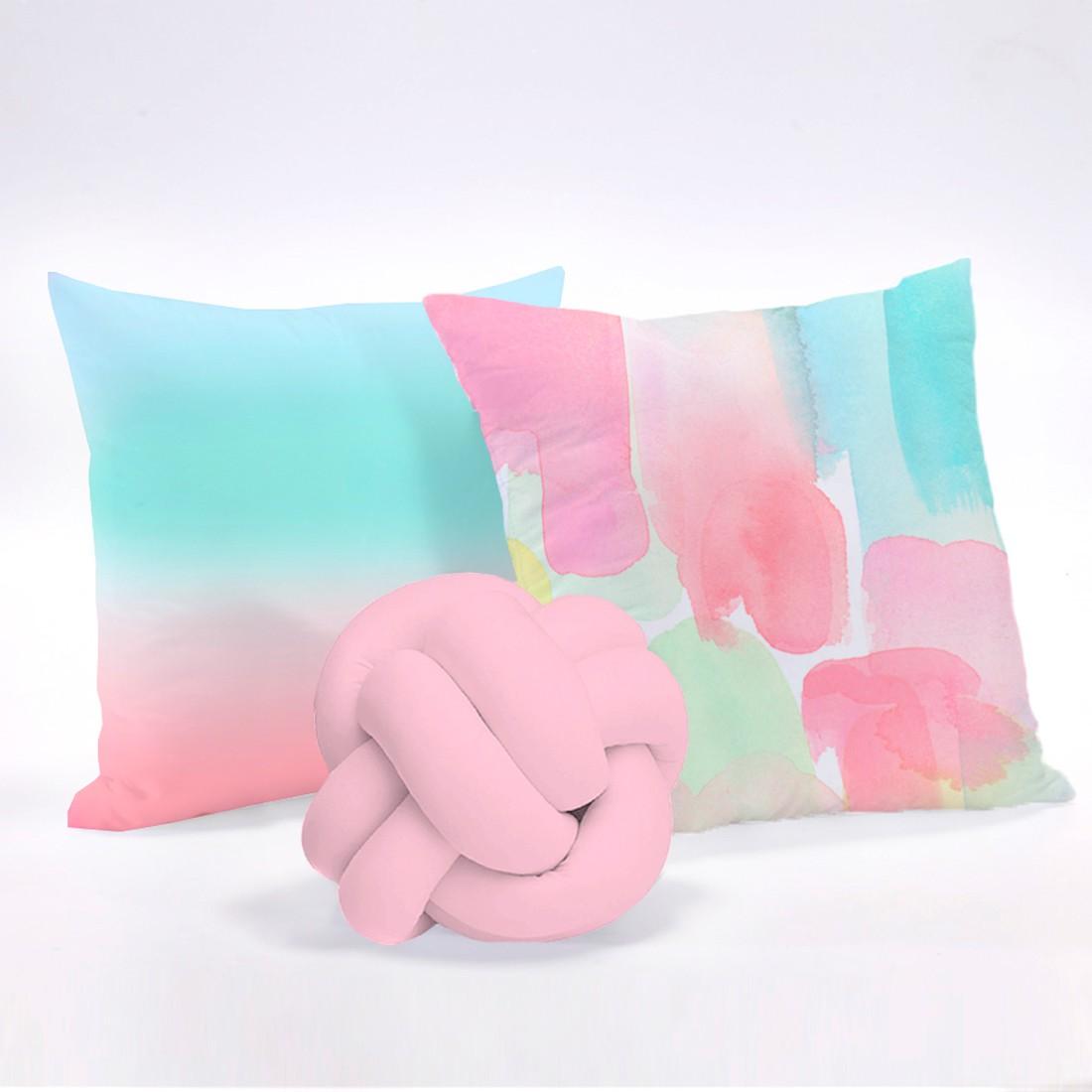 Kit de Almofadas Cheias c/ Nó Tie Dye Rosa 03 Peças