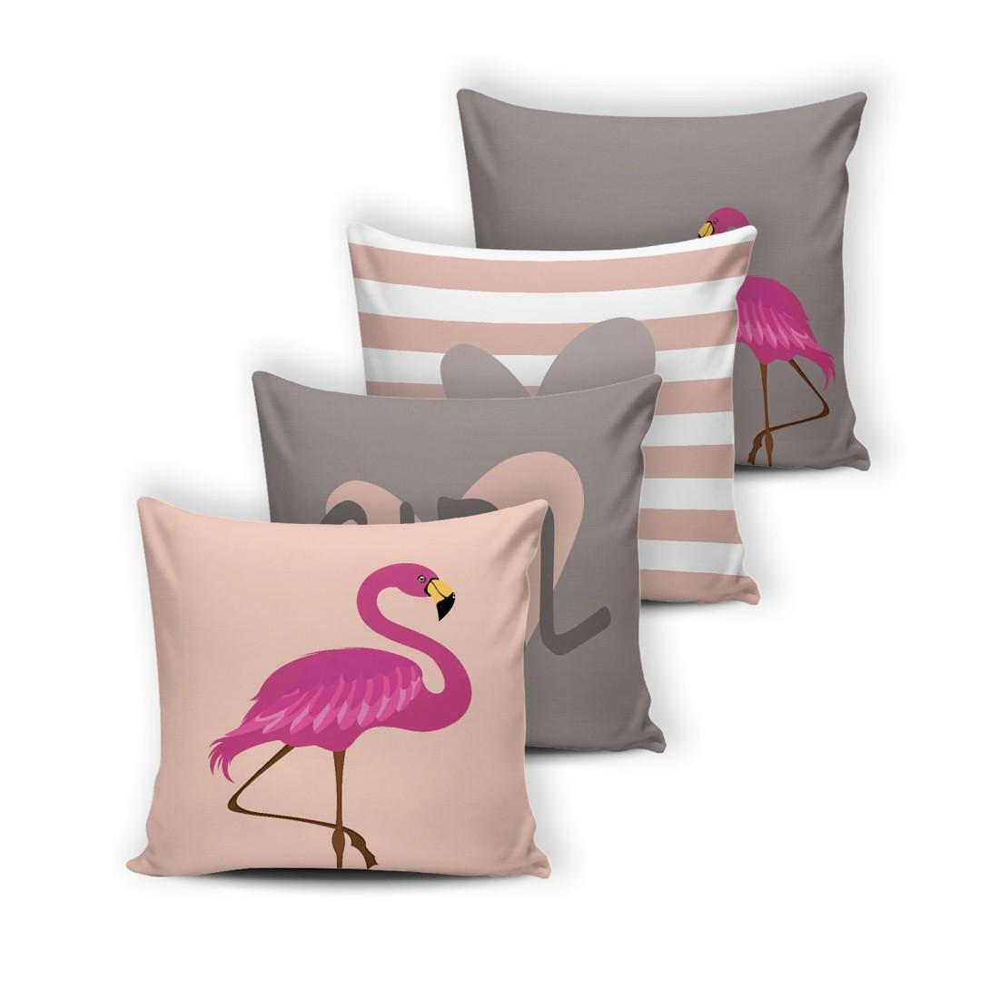 Kit de Almofadas Cheias Innovative Flamingo 04 Peças - Fibra Siliconada