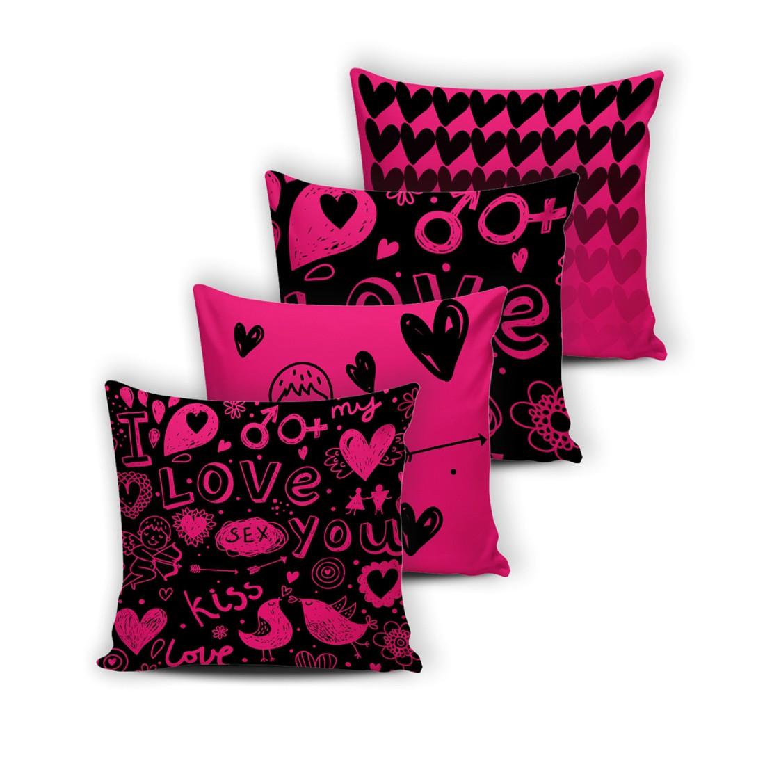 Kit de Almofadas Cheias Innovative Love Pink 04 Peças - Fibra Siliconada