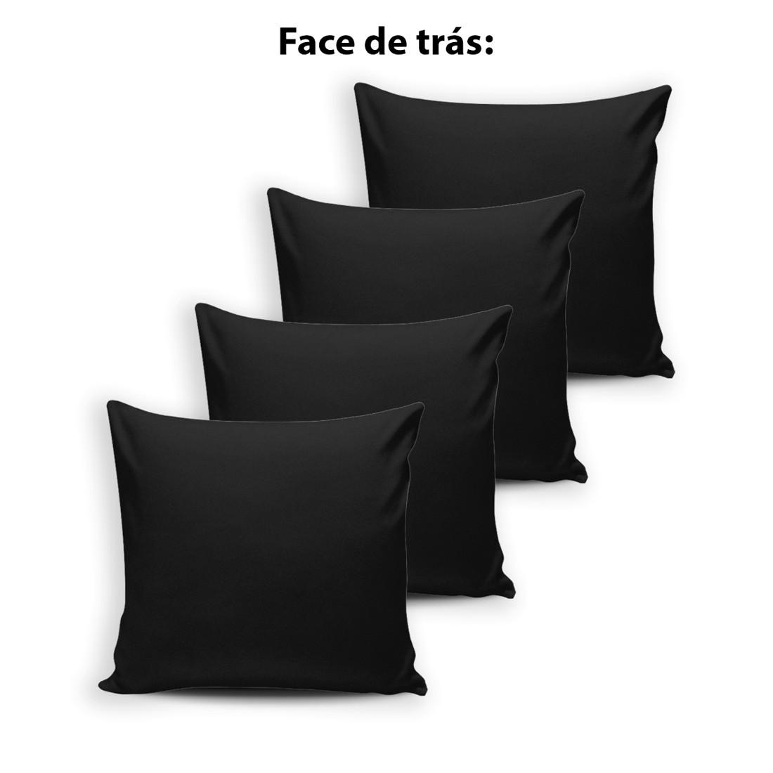 Kit de Almofadas Cheias Innovative Safari Preto/Branco 04 Peças - Fibra Siliconada