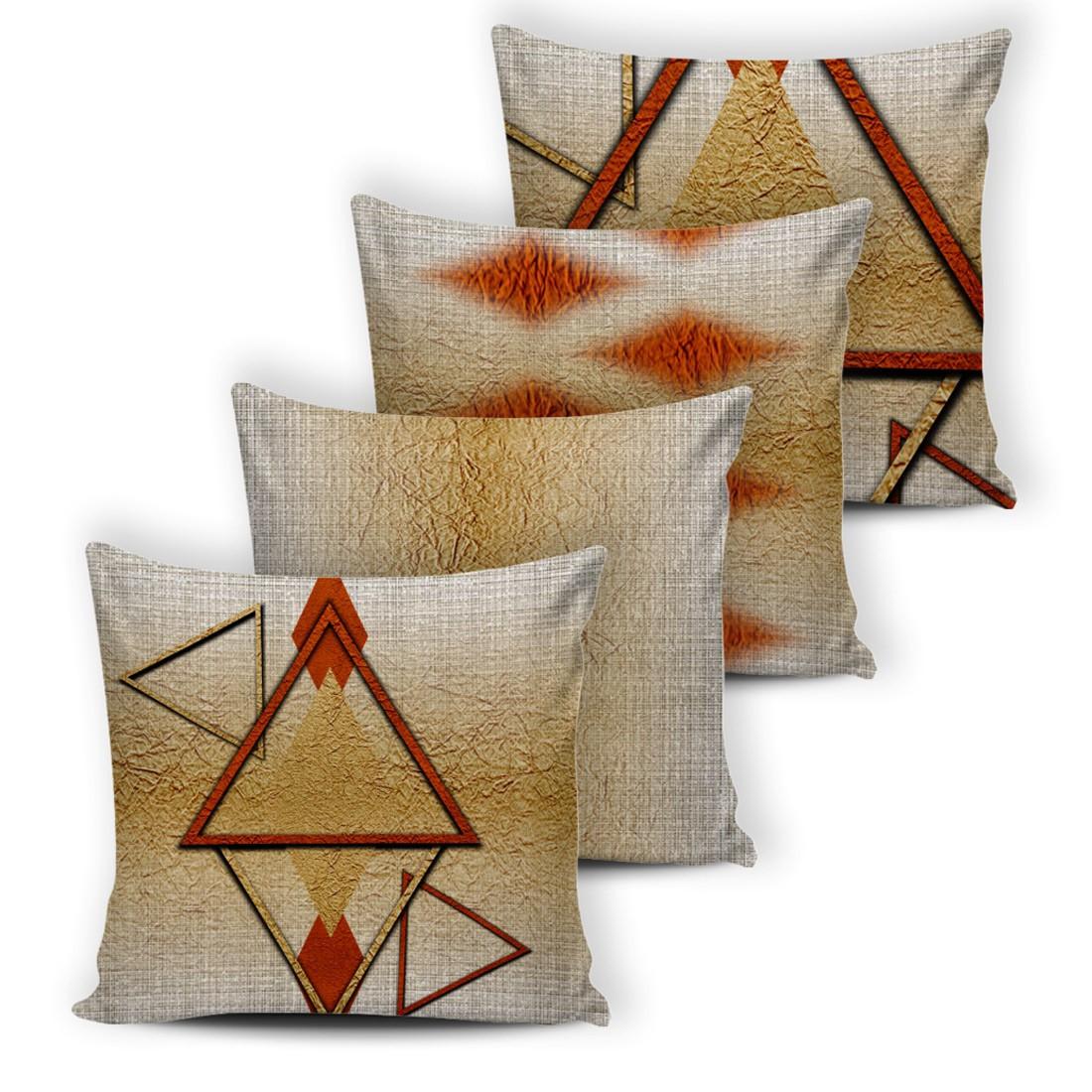 Kit de Almofadas Cheias Innovative Triângulos Bege 04 Peças - Fibra Siliconada