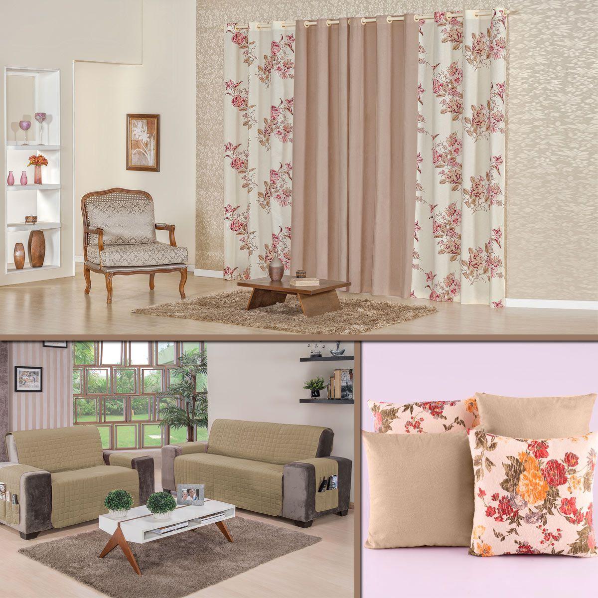 Kit Decoração p/ Sala Cortina + Protetor + Almofadas Caqui/Floral 07 Peças