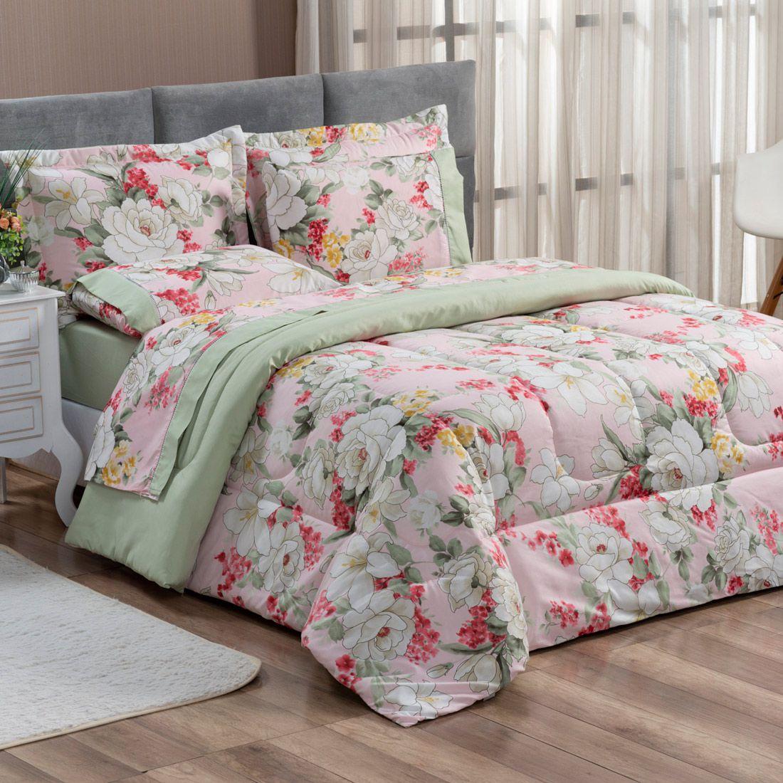 Kit Edredom Forest Floral Verde/Rosê Queen Micropercal 200 Fios Dupla Face 03 Peças