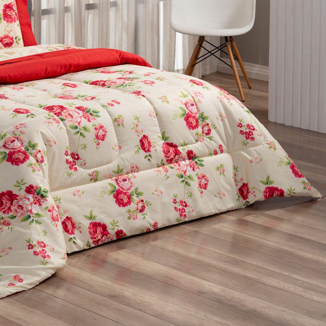 Kit Edredom Forest Floral Vermelho Queen Micropercal 200 Fios Dupla Face 03 Peças