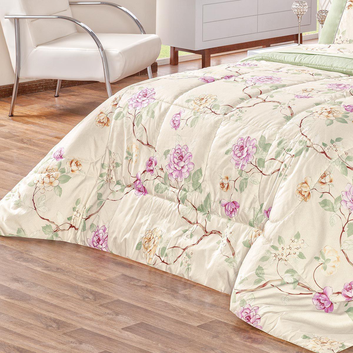 Kit Edredom Naturale Floral Verde Queen Micropercal 200 Fios Dupla Face 03 Peças