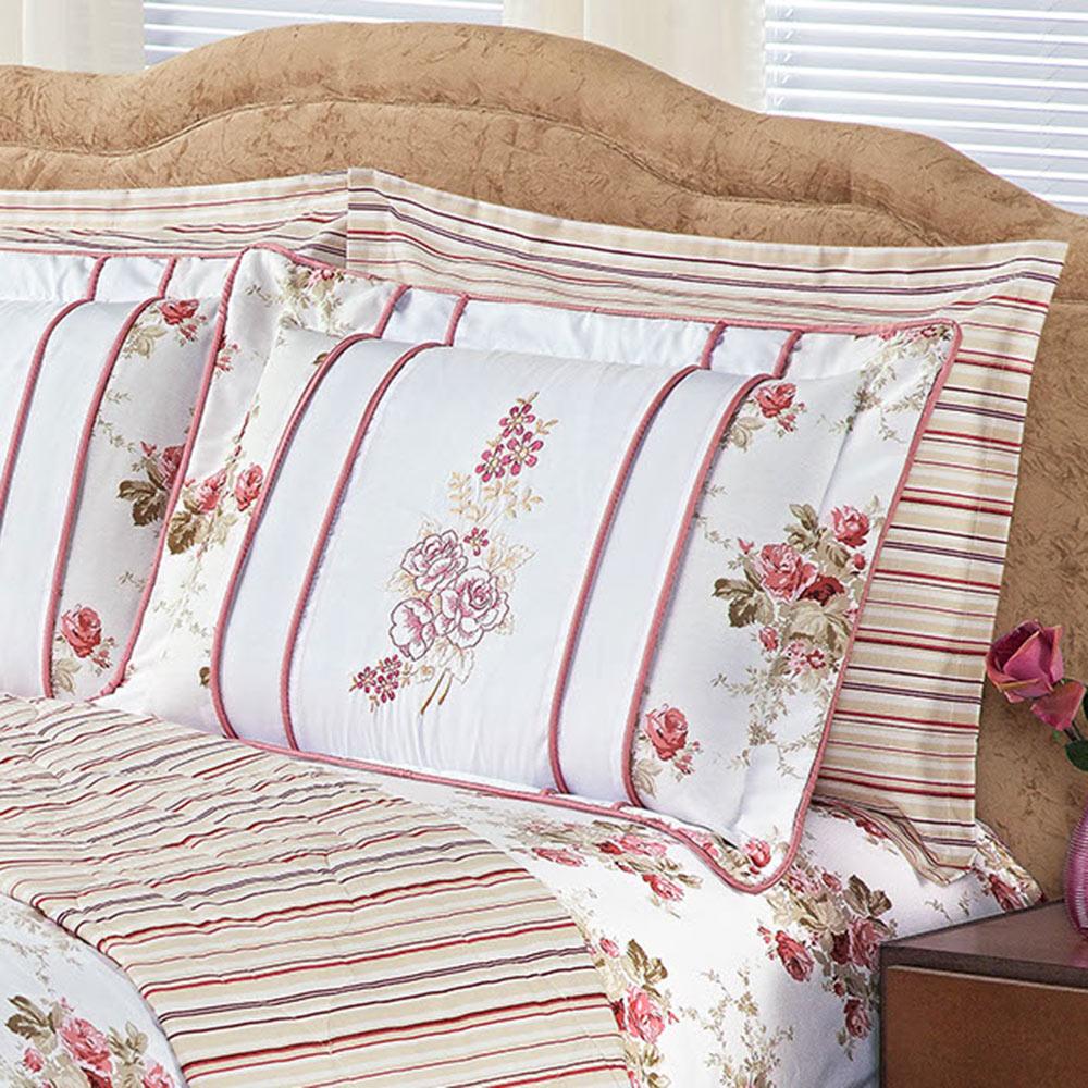 Kit Jasmin Floral Rosê Queen 08 Pecas Dupla Face