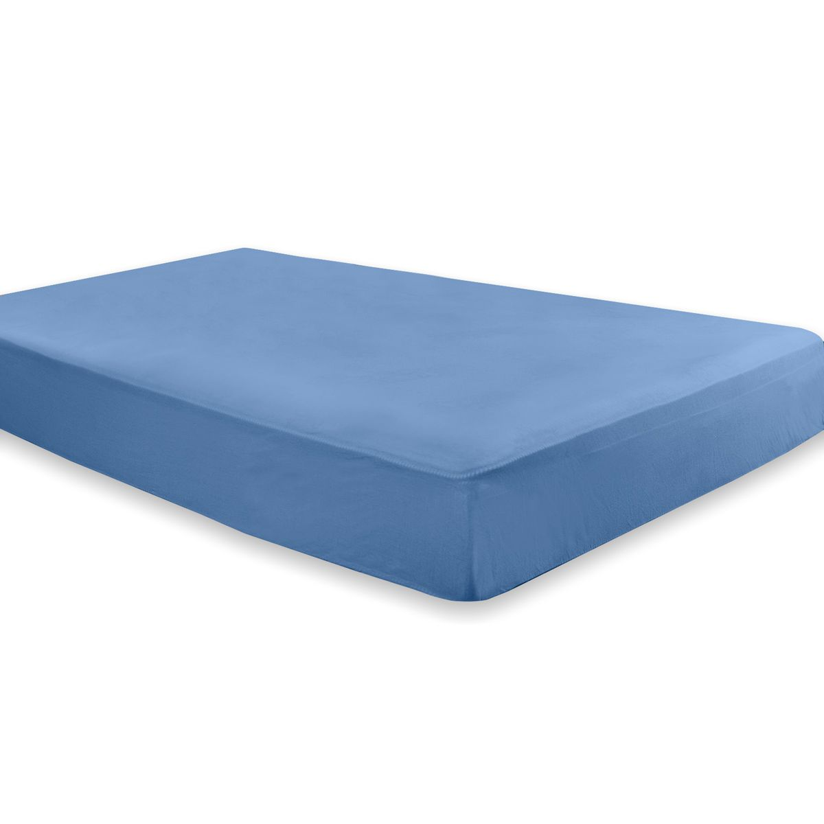 Lençol Avulso Azul Liso Queen - Malha 100% Algodão