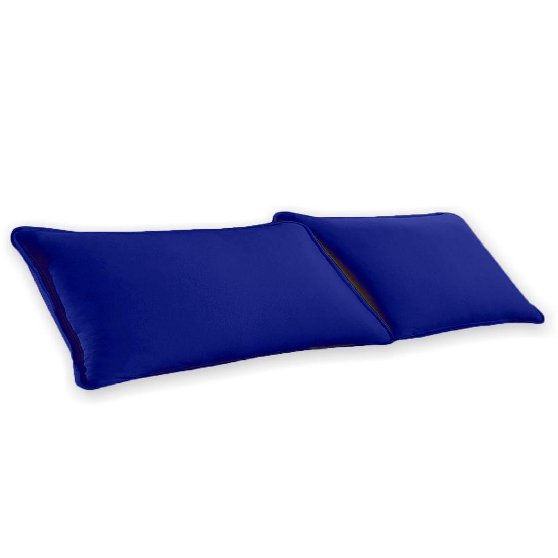 Par de Fronhas Azul Lisa em Malha 100% Algodão 120g/m2