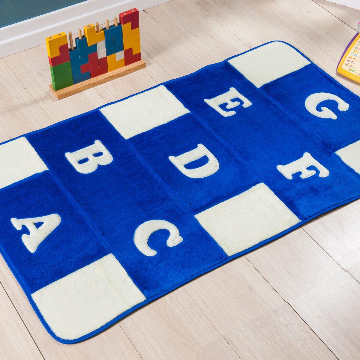 Passadeira Infantil Premium Alfabeto Azul Royal 1,20m x 74cm