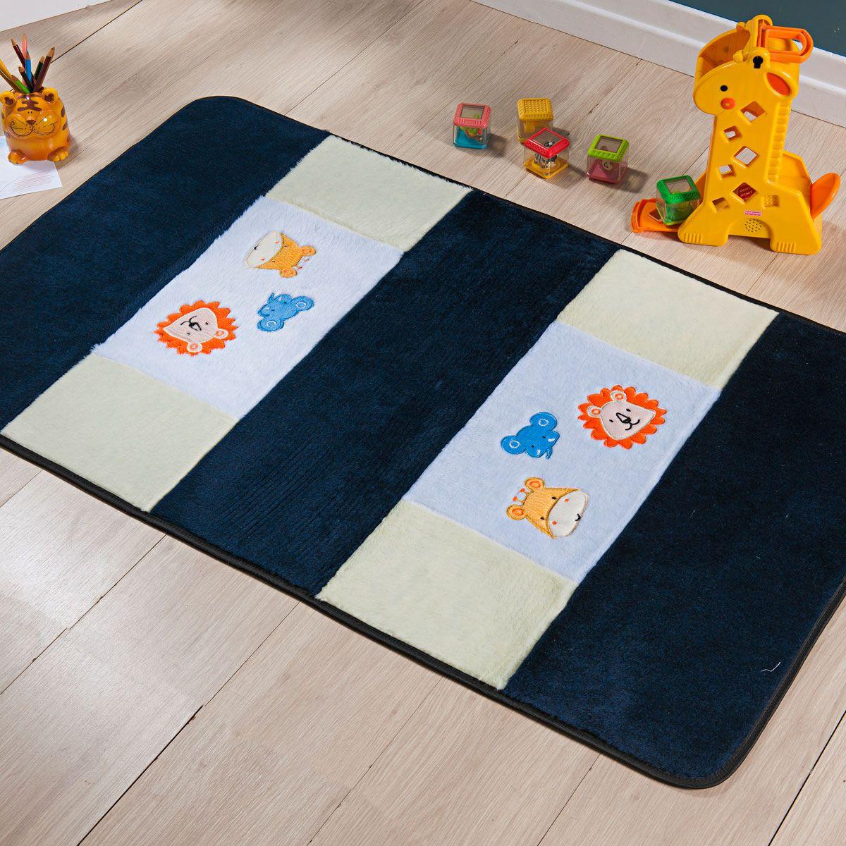 Passadeira Infantil Premium Animais Azul Marinho 1,20m x 74cm