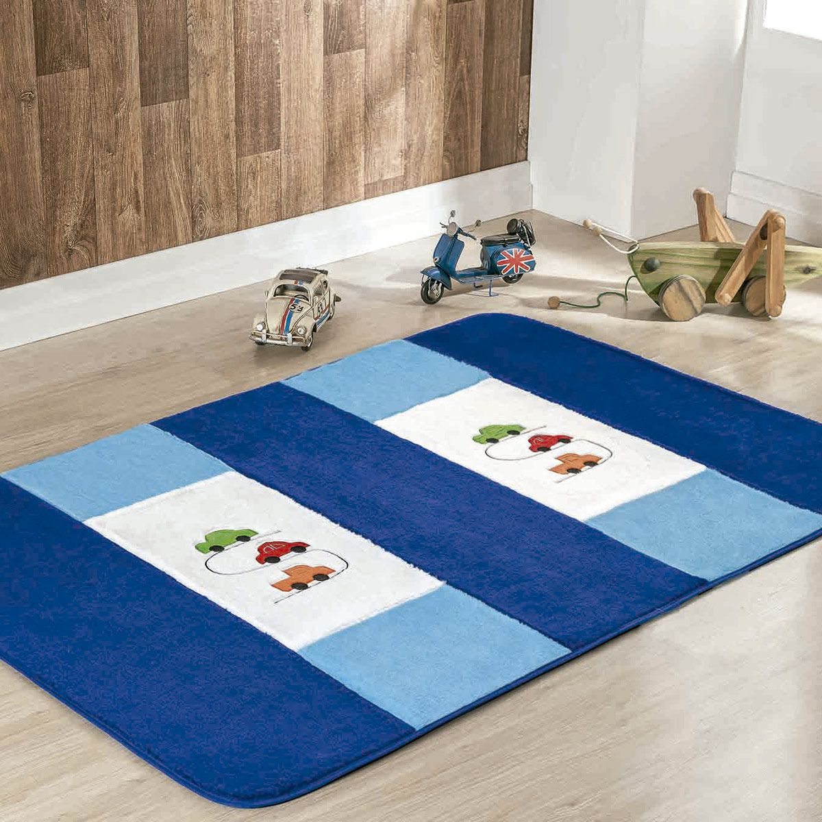 Passadeira Infantil Premium Carrinhos Azul Royal 1,20m x 74cm