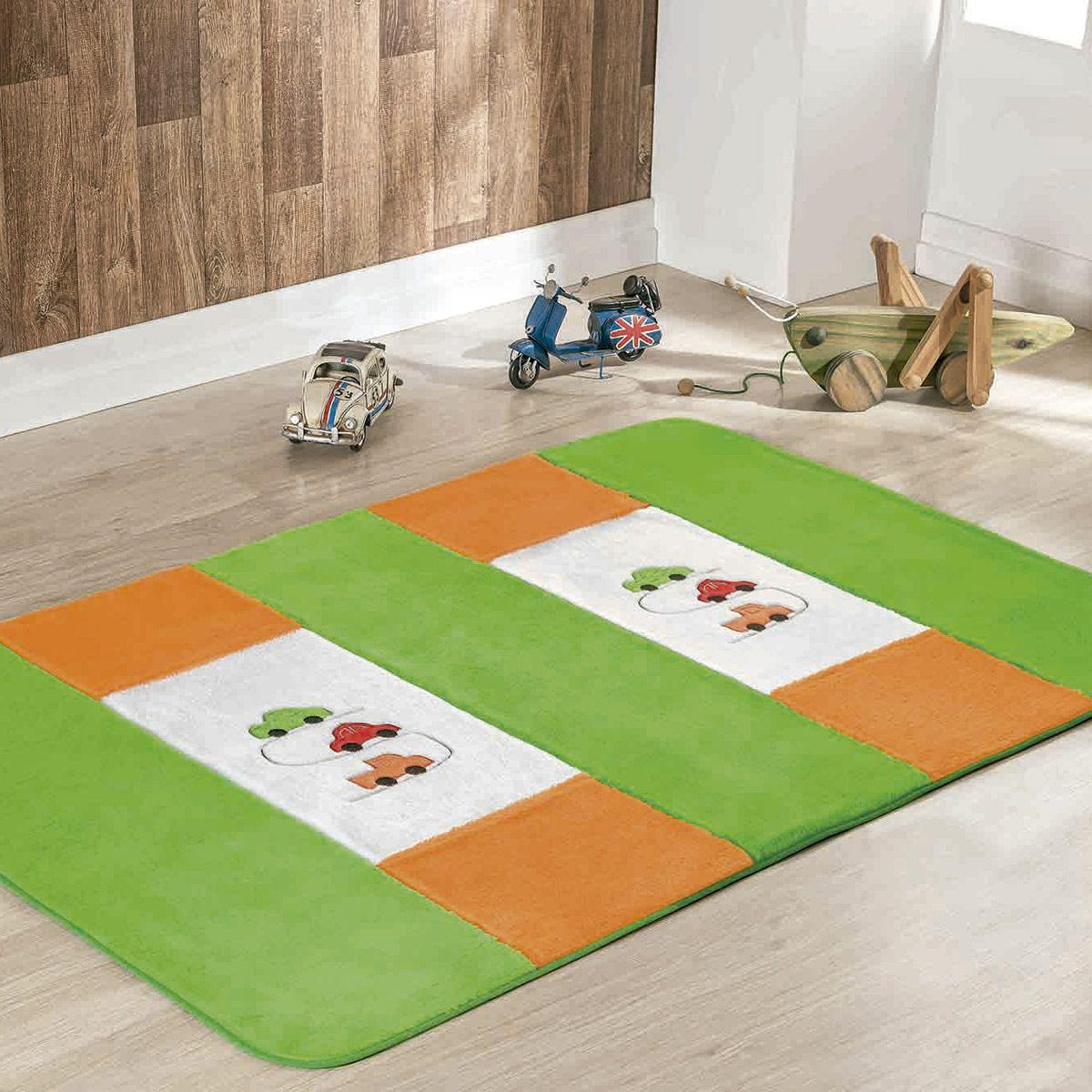 Passadeira Infantil Premium Carrinhos Verde Pistache 1,20m x 74cm