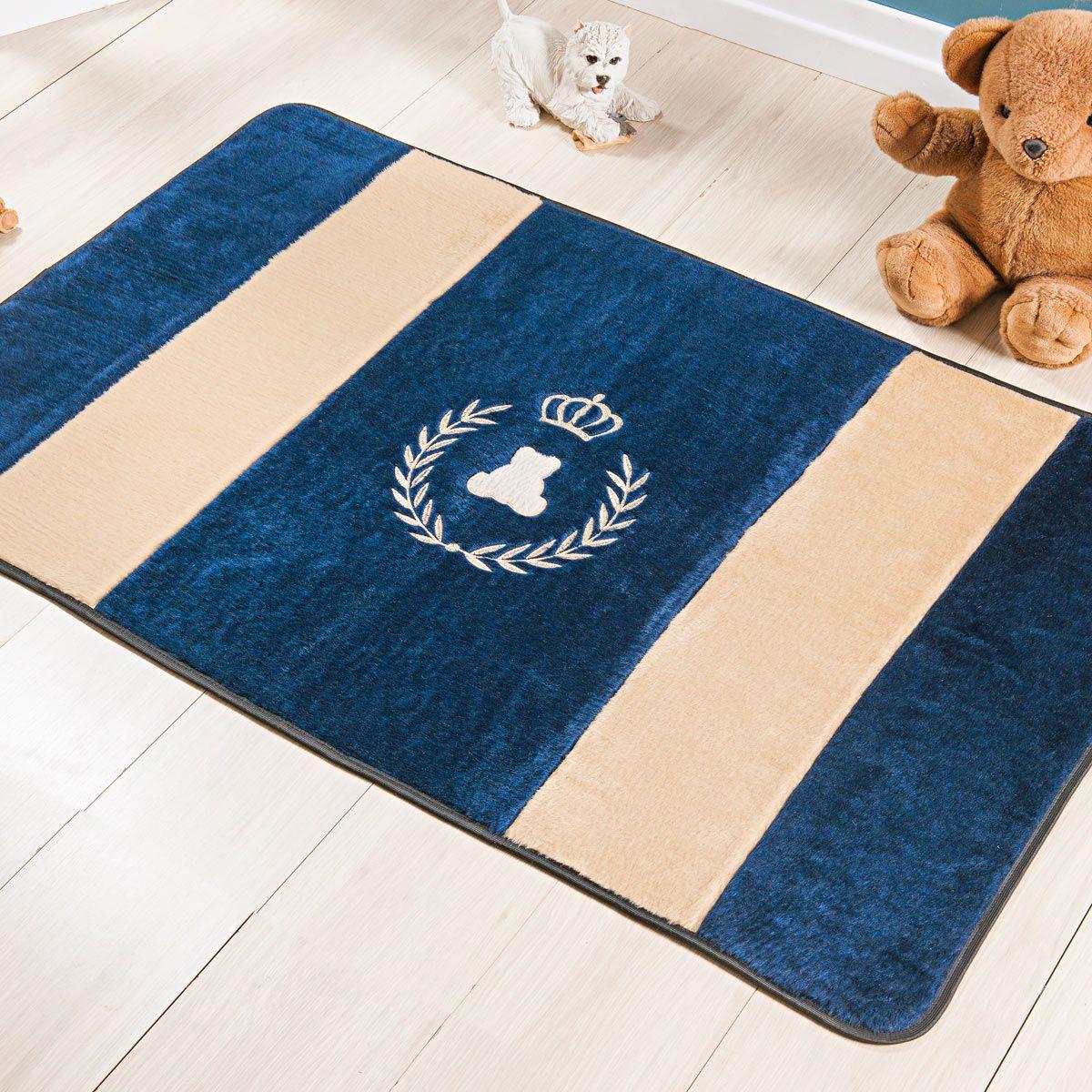 Passadeira Infantil Premium Realeza Azul Marinho 1,20m x 74cm