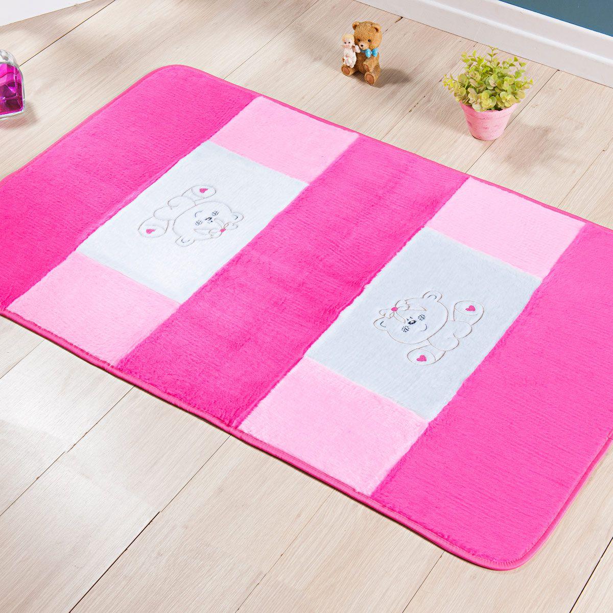 Passadeira Infantil Premium Ursinho Pink 1,20m x 74cm
