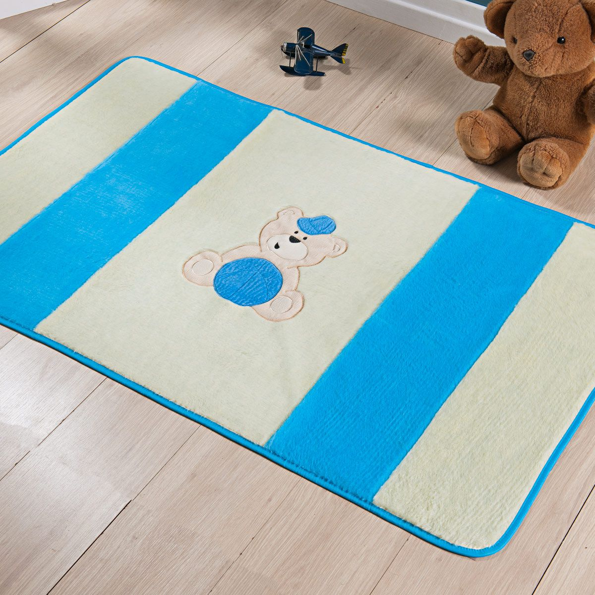 Passadeira Infantil Premium Urso Bola Azul Turquesa 1,20m x 74cm