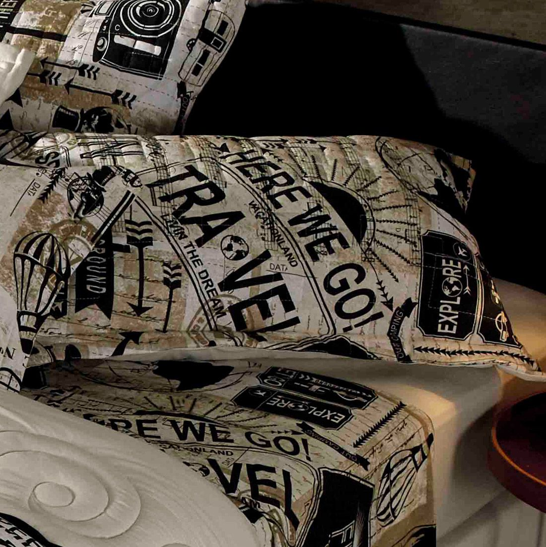 Porta Travesseiro Avulso Estampado Travel - Malha 100% Algodão