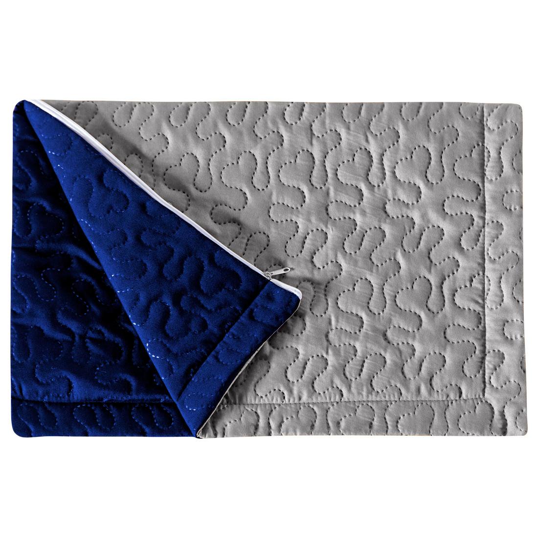 Porta Travesseiro Pratik Cinza/Azul Royal Avulso Dupla Face c/ Zíper - Microfibra