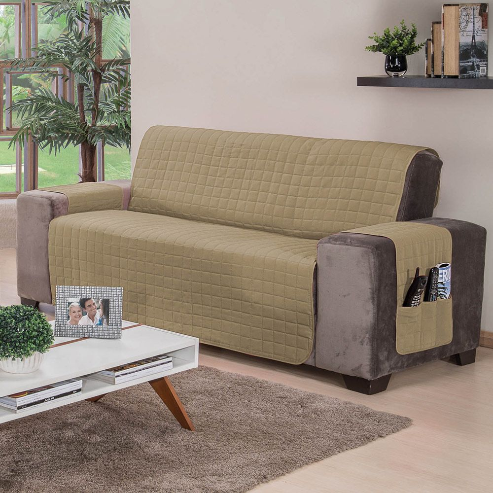 Protetor De Sofa 2 e 3 Lugares Elegance Caqui 02 Peças
