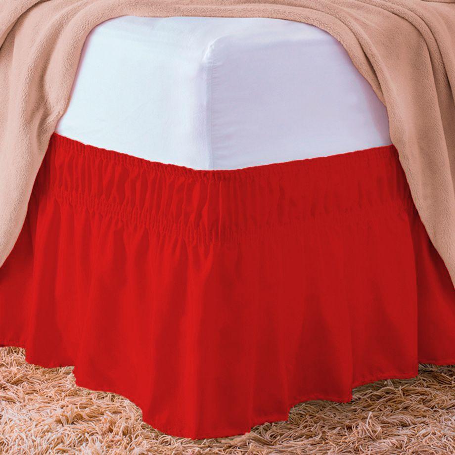 Saia Para Cama Box Standard Vermelho Casal Padrão
