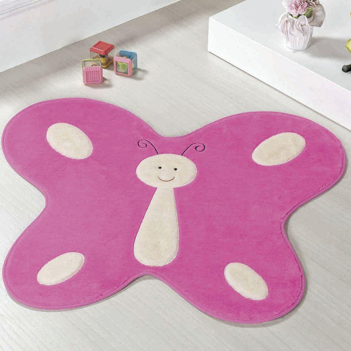 Tapete Big Infantil Premium Formato Borboleta Feliz Pink 1,14m x 0,88m