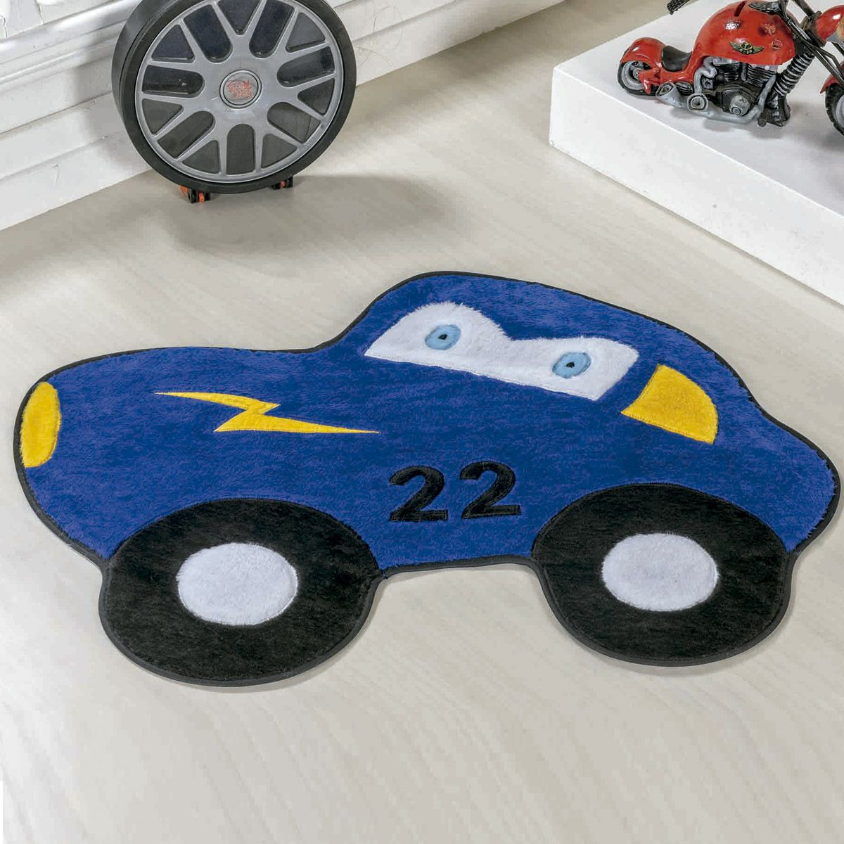 Tapete Big Infantil Premium Formato Carrinho 22 Azul Royal 1,18m x 0,88m