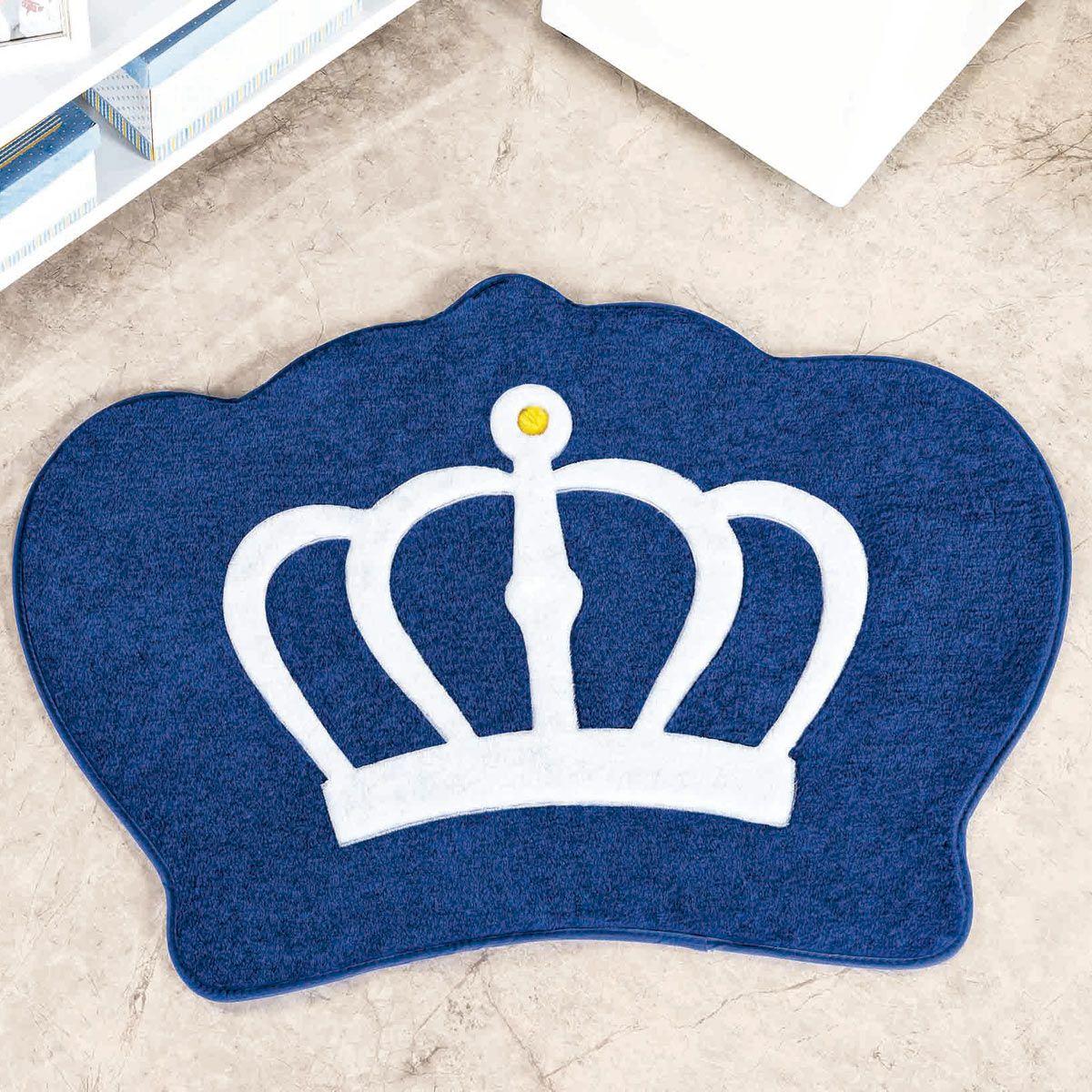 Tapete Big Infantil Premium Formato Coroa Azul Royal 1,16m x 0,90m