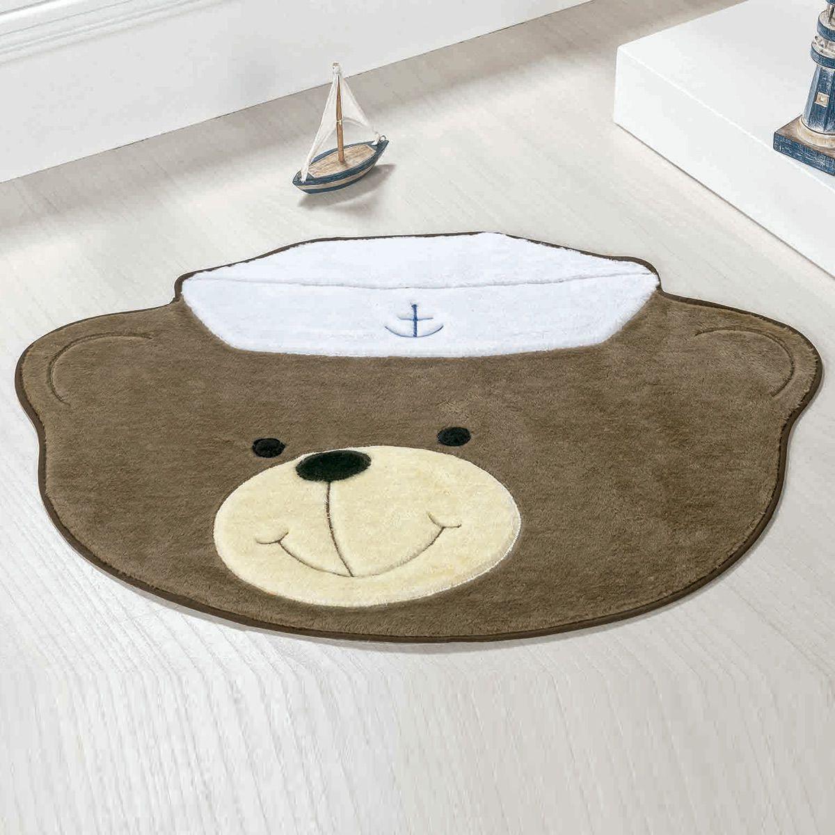 Tapete Big Infantil Premium Formato Urso Marinheiro Castor 1,10m x 0,88m