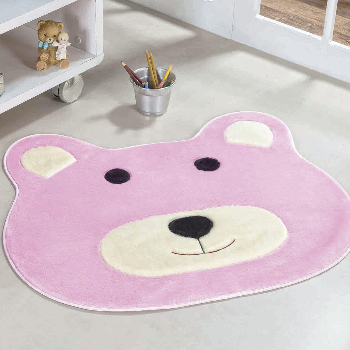 Tapete Big Infantil Premium Formato Urso Rosa 1,16m x 1,00m