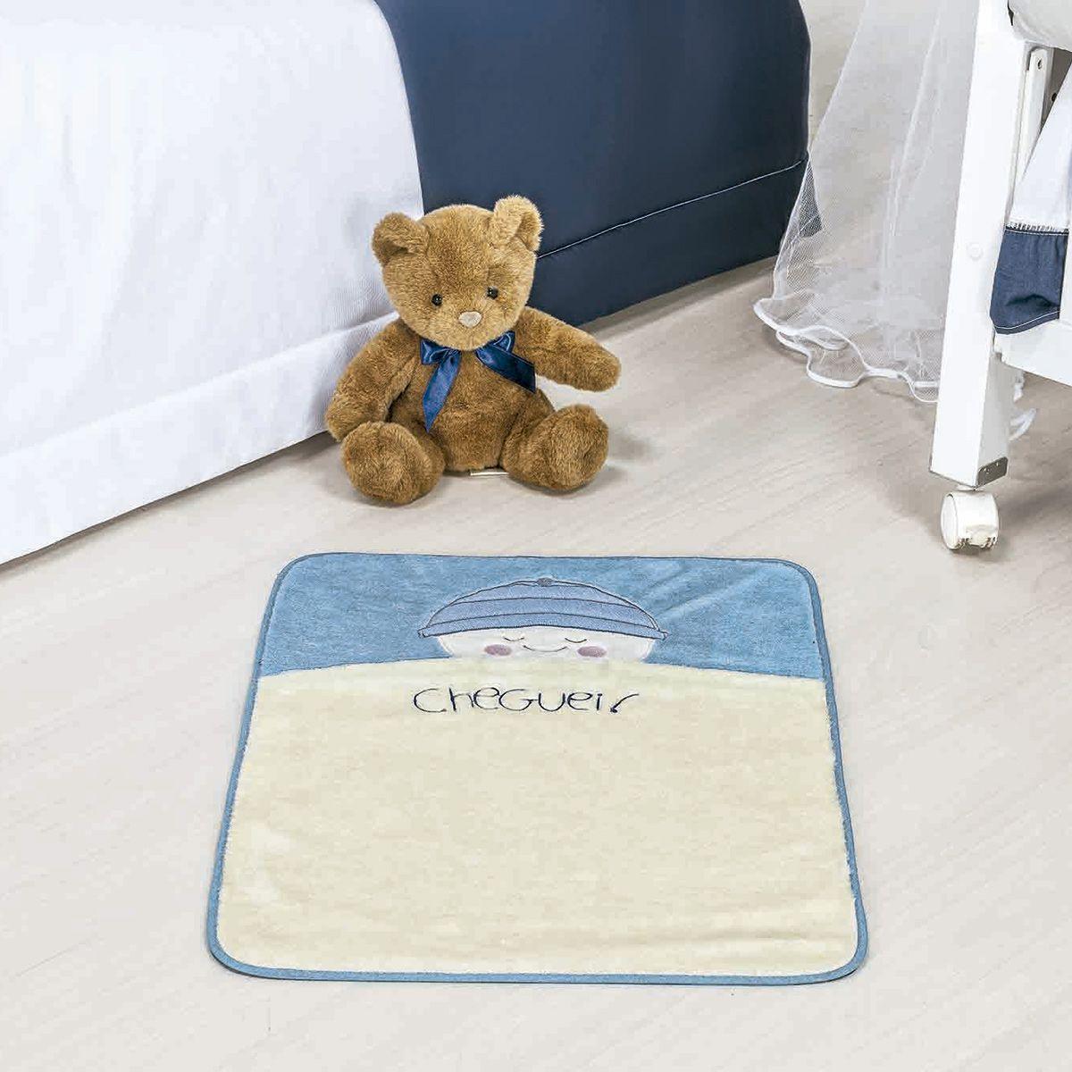 Tapete Infantil Premium Baby Formato Bebê Cheguei Azul Turquesa 68cm x 48cm