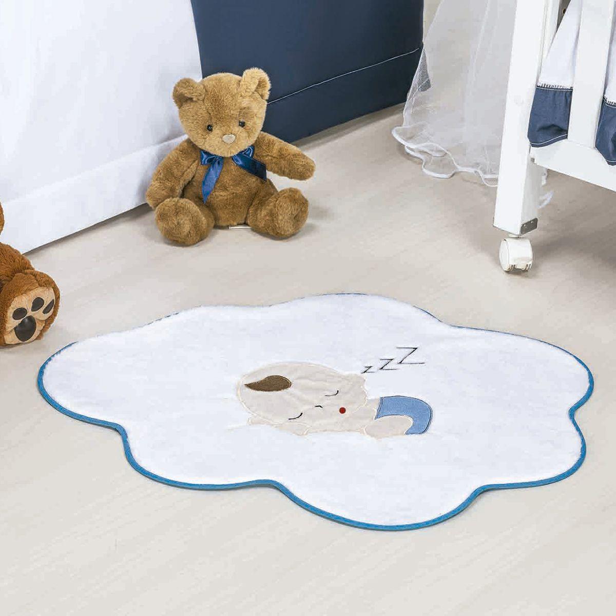 Tapete Infantil Premium Baby Formato Bebê Nuvem Azul Turquesa 76cm x 62cm