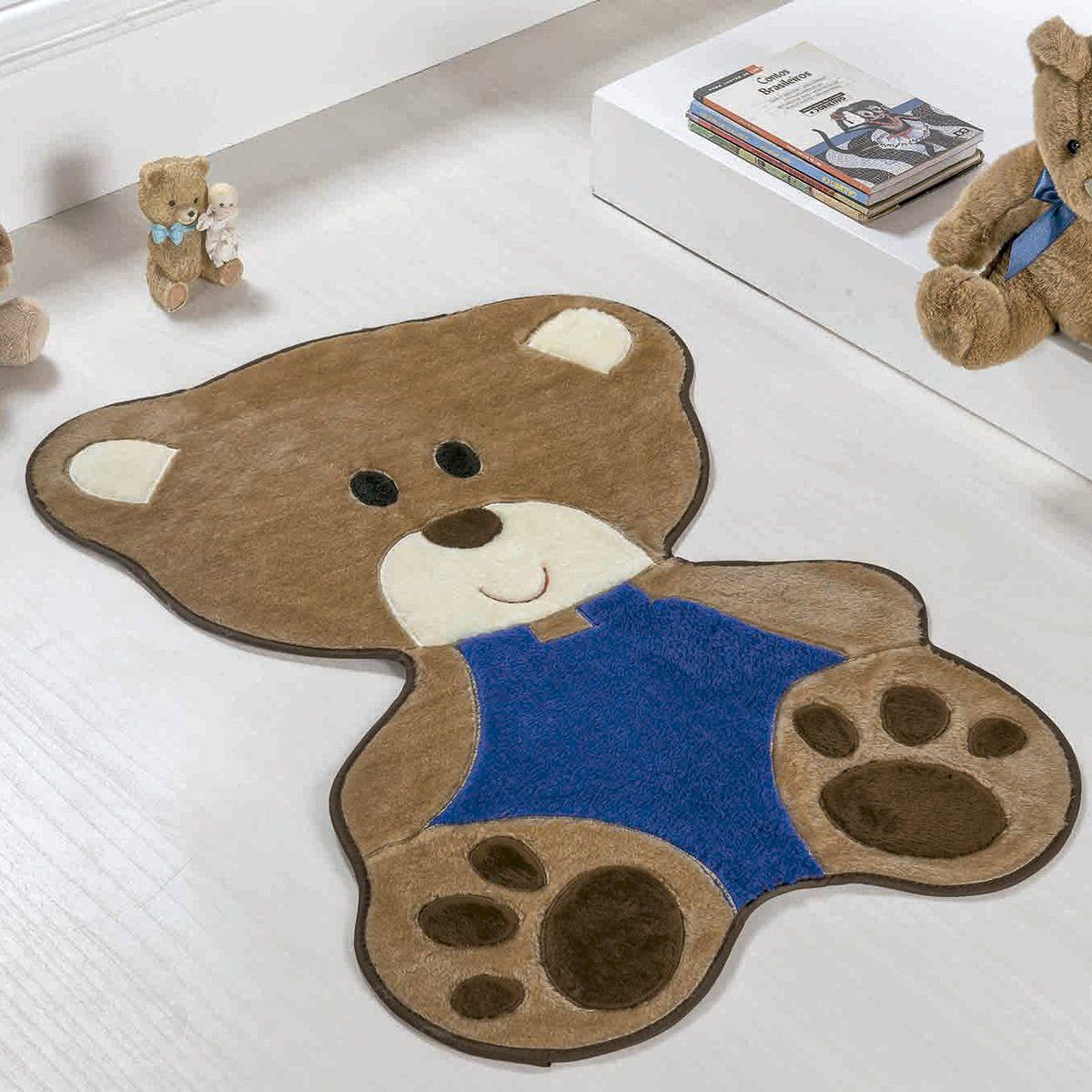 Tapete Infantil Premium Baby Formato Bebê Urso Azul Royal 78cm x 54cm