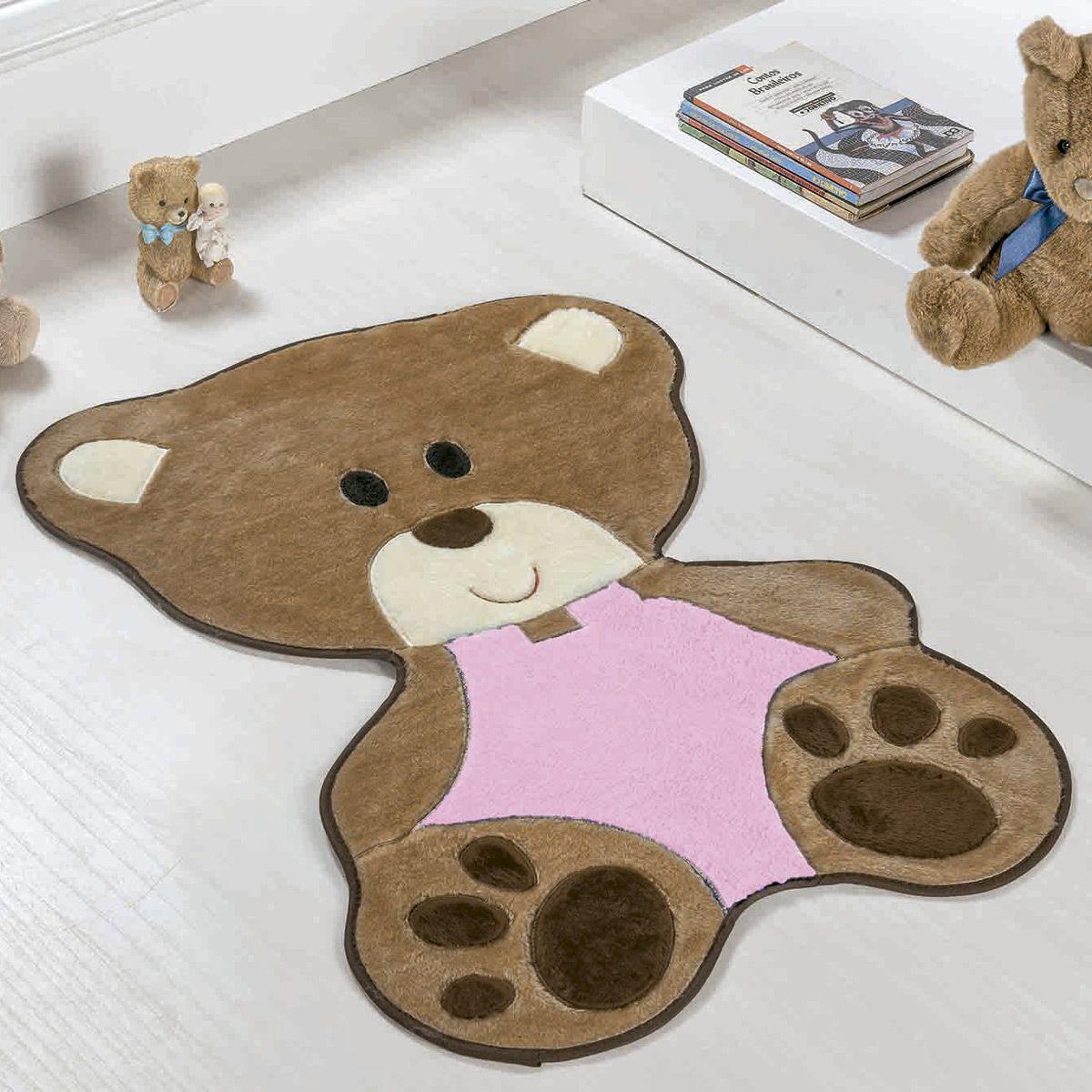 Tapete Infantil Premium Baby Formato Bebê Urso Rosa 78cm x 54cm