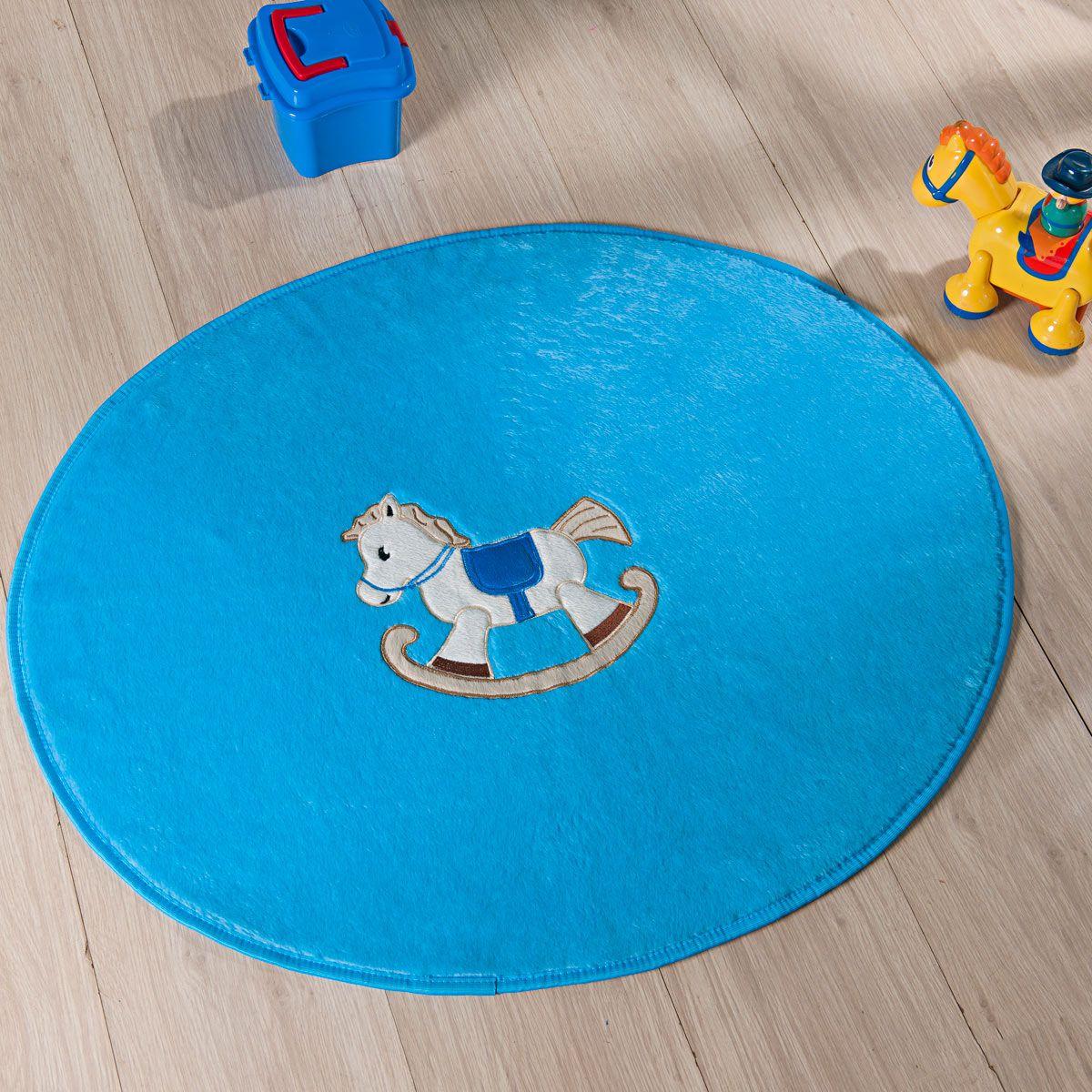 Tapete Infantil Premium Baby Formato Cavalinho Azul Turquesa 78cm x 68cm