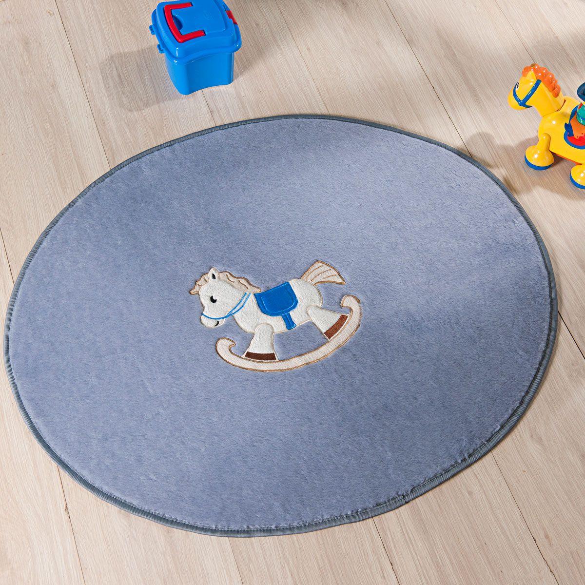 Tapete Infantil Premium Baby Formato Cavalinho Cinza Prata 78cm x 68cm
