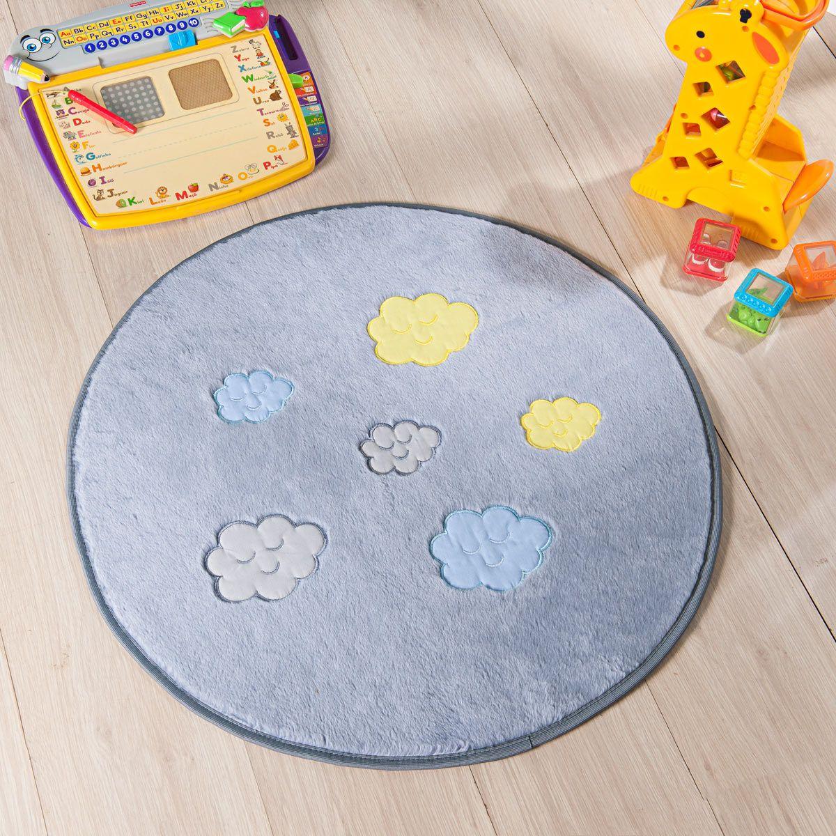 Tapete Infantil Premium Baby Formato Céu Cinza Prata 65ø cm