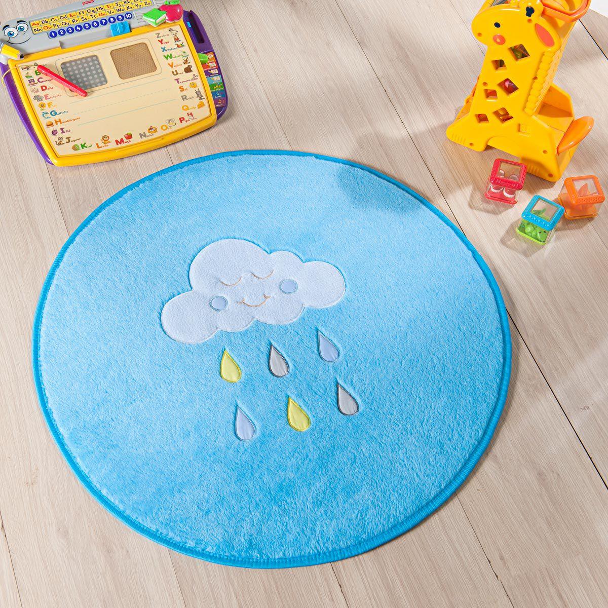 Tapete Infantil Premium Baby Formato Chuva de Benção Azul Turquesa 65ø cm